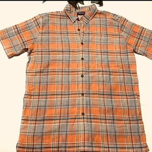 Patagonia Mens Orange Plaid Button Up Shirt Size M